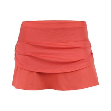 Lucky in Love Girls Pindot Rouched Tier Skirt - Flame