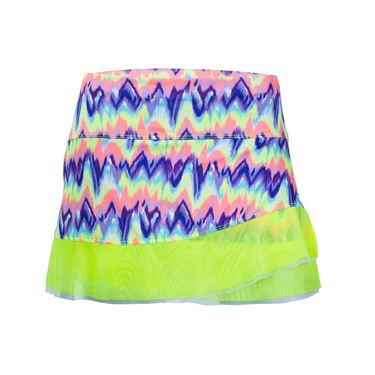 Lucky in Love Girls Star Gazer Neon Ikat Circle Mesh Skirt - Lime Frost