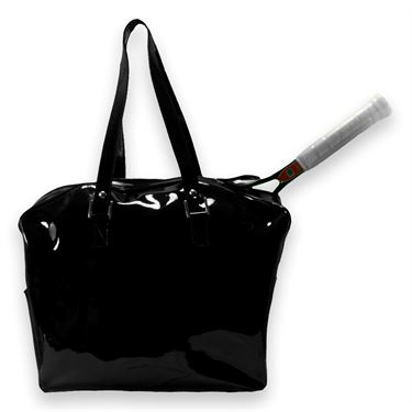 Cortiglia Belvedere Black Patent Leather Tennis Bag