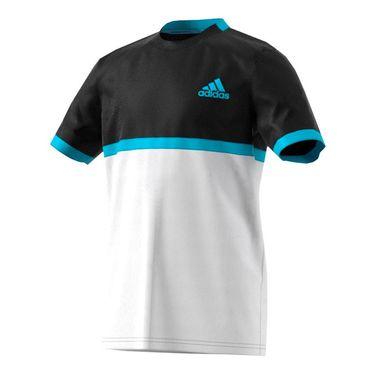 adidas Boys Court Tee - Black/White/Samba Blue