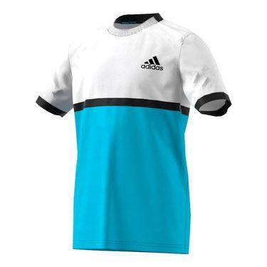 adidas Boys Court Tee - White/Samba Blue/Black