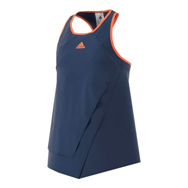 adidas Girls Melbourne Line Tank - Mystery Blue/Glow Orange