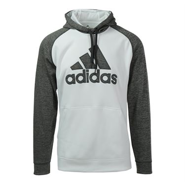 adidas Team Issue Logo Hoodie - White/Dark Grey Heather
