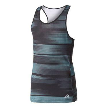 adidas Girls Advantage Tank - Black/Onix/Energy Aqua