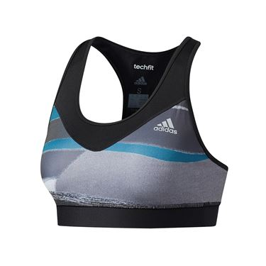 adidas Tech Fit Printed Bra - Grey Heather