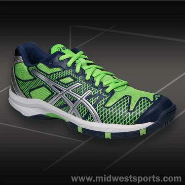Asics Gel Solution Speed Junior Tennis Shoe-Navy/Silver/Neon Green