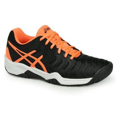 Asics Gel Resolution 7 Junior Tennis Shoe - Black/Shocking Orange/White