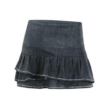 Lucky in Love In the Fast Lane Long Pleated Tier Skirt - Black Denim/Raspberry