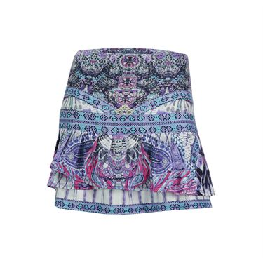 Lucky in Love Long Bedazzled Pleat Tier Skirt - Multi Color