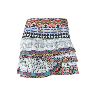 Lucky In Love Long Tut Ruched Scallop Skirt - Multi
