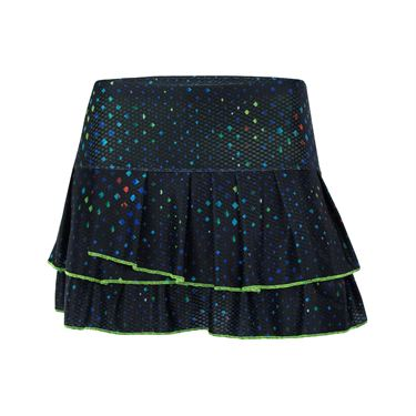 Lucky in Love Technicolor Cosmic Pleat Tier Skirt - Black
