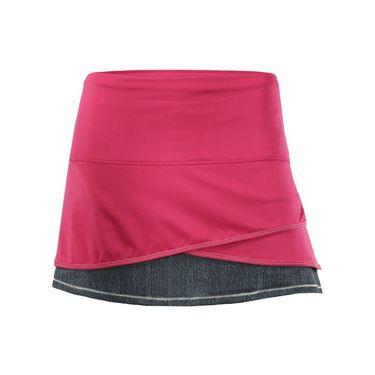 Lucky in Love In the Fast Lane Long Scallop Skirt - Black Denim/Raspberry