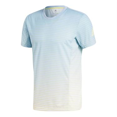 adidas Melbourne Striped Crew - Ash Blue/White