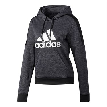 adidas Team Issue Fleece Pullover Logo Hoodie - Dark Grey HeatherMelange/Black