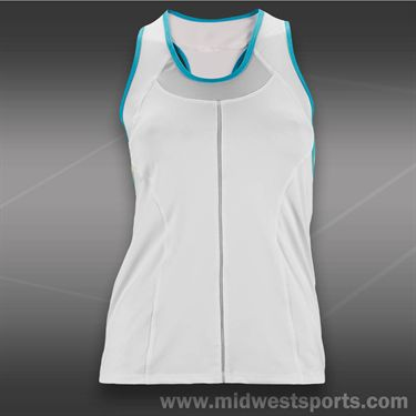 Lucky in Love Modern Mayan Racerback Tank-White/Ocean Blue