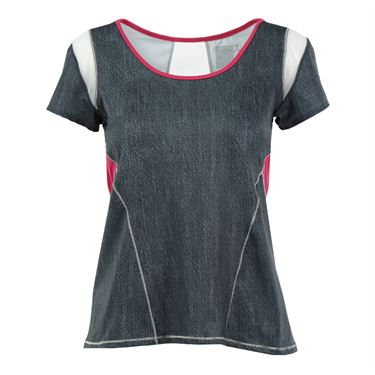 Lucky in Love In the Fast Lane Scoop Neck Cap Sleeve Top - Black Denim/Raspberry