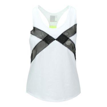 Lucky in Love Roxanne Mesh Block Singlet Tank-White