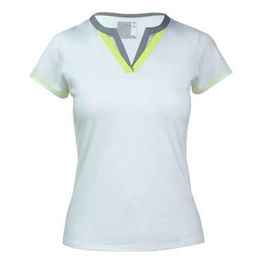 Lucky In Love Short Sleeve Double V Shirt - White
