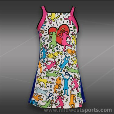 Lucky in Love Girls Tennis Dress-White