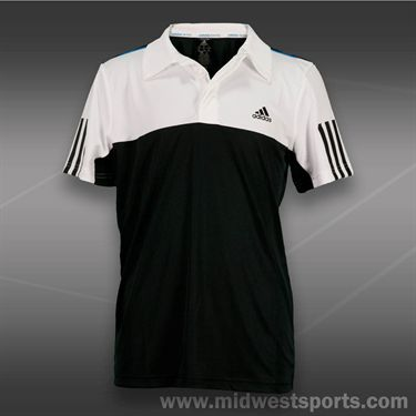 adidas Boys Response Traditional Polo- Black/White