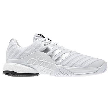 adidas barricade 2018 boost Mens Tennis Shoe - White/Matte Silver/Matte Silver