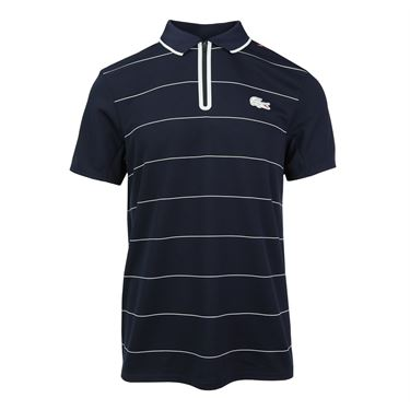 Lacoste Stripe Ultra Dry Zipper Polo - Navy Blue/White/Tomato