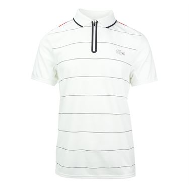 Lacoste Stripe Ultra Dry Zipper Polo - White/Navy Blue/Tomato