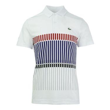 Lacoste Ultra Dry Tech Stripe Polo - White/Black/Ladybird/Ocean