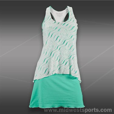 Denise Cronwall Calypso Tennis Dress-White/Green