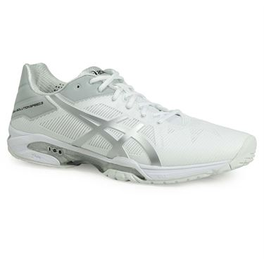Asics Gel Solution Speed 3 Mens Tennis Shoe - White/Silver