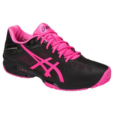 Asics Gel Solution Speed Womens Tennis Shoe - Black/Hot Pink/Silver