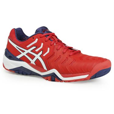 Asics Gel Resolution 7 Mens Tennis Shoe - True Red/White/Indigo Blue