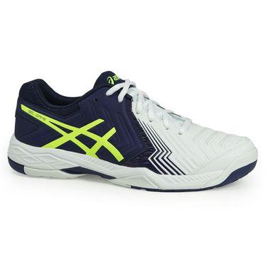 Asics Gel Game 6 Mens Tennis Shoe - White/Indigo Blue/Safety Yellow