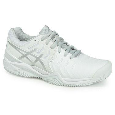 Asics Gel Resolution 7 Clay Womens Tennis Shoe - White/Silver