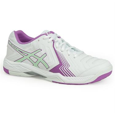 Asics Gel Game 6 Womens Tennis Shoe - White/Paradise Green/Campanula