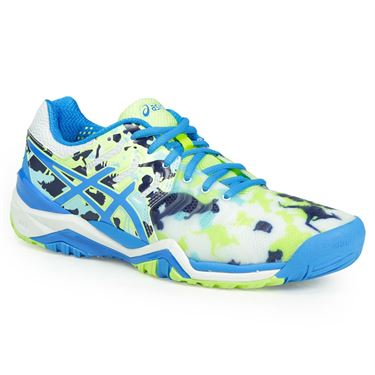Asics Gel Resolution 7 Limited Edition Melbourne Womens Tennis Shoe - White/Diva Blue/Yellow
