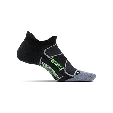 Feetures Elite Max Cushion No Show Tab Sock - Black/Reflector
