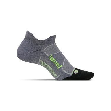 Feetures Elite Max Cushion No Show Tab Sock - Heather Grey/Reflector