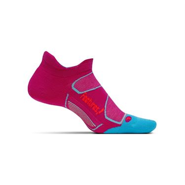 Feetures Elite Max Cushion No Show Tab Sock - Berry/Lava