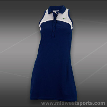 Lacoste Sleeveless Mesh Yoke Dress-Methylene Blue