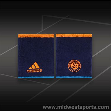 adidas Roland Garros Doublewide Wristband-Night Blue/Solar Zest