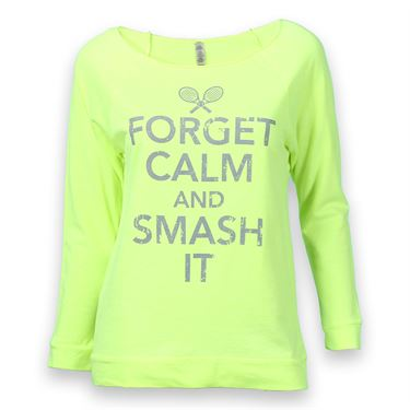 Love All Forget Calm And Smash It Raglan Top - Neon Yellow