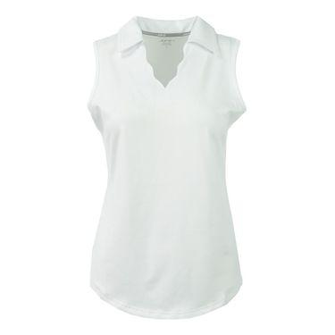 Jofit Napa Scallop Sleeveless Polo - White