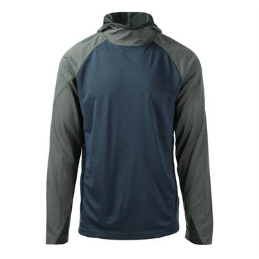 Prince Hooded Long Sleeve Shirt - Heather Slate/Heather Grey