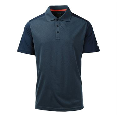 Prince Interlock Polo - Heather Slate/Cherry Tomato