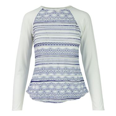 Denise Cronwall Nordica Printed Sheer Body Top - Blue/White Print