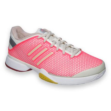 adidas Barricade 8 Stella McCartney Womens Tennis Shoes-Frost/Soft Powder/Red Zest