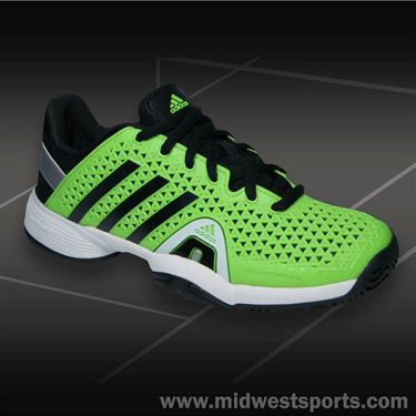 adidas Barricade 8+ Junior Tennis Shoe-Neon Green/Black, M18582