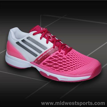 adidas CC adiZero Tempaia III Womens Tennis Shoes-Pink/Iron/White