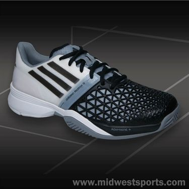 adidas CC adizero Feather III Mens Tennis Shoe-Black/White